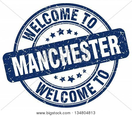 welcome to Manchester stamp. welcome to Manchester.