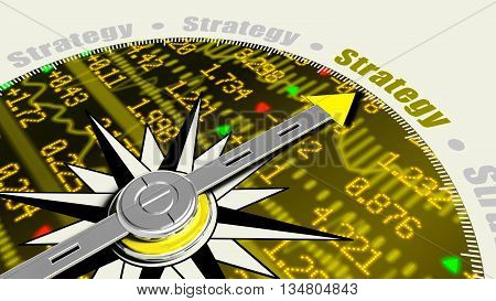 Business strategy concept with a compass needle pointing at strategy on a stock ticker wall background 3D illustration