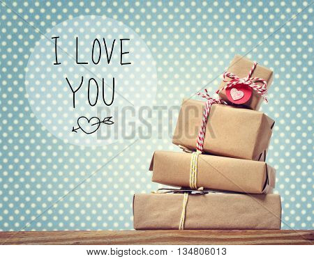 I Love You Message With Gift Boxes
