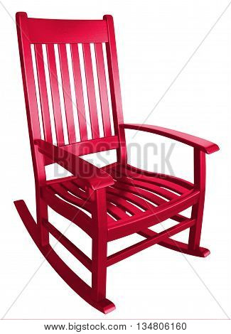 Hot red rocking chair facing right empty alone