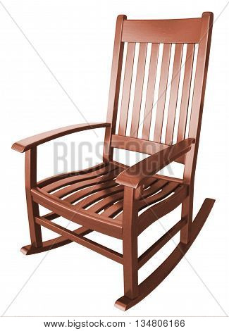 Brown wooden rocking chair sitting on a porch facing left