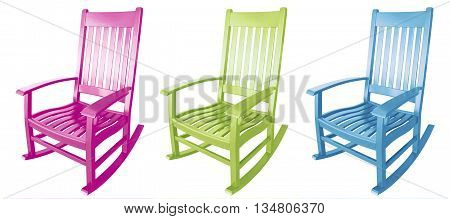 Three rocking chairs pink lime green blue easter colors facing left