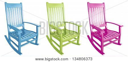 Three rocking chairs pink lime green blue easter colors facing right
