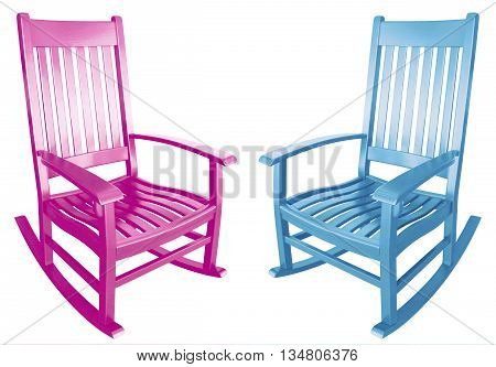 Blue and pink rocking chairs choosing surprise baby boy girl