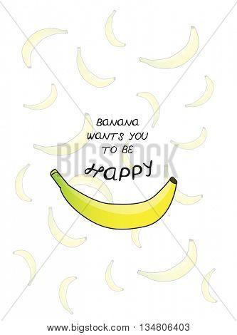 HAPPY BANANA , PUN TYPOGRAPHY , VECTOR DESIGN