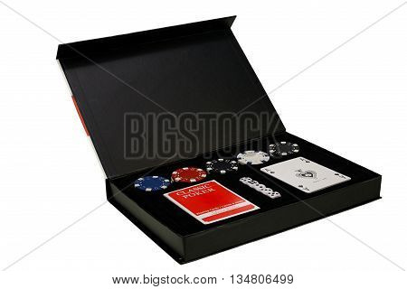 Poker set in the black box on white background with clipping path
