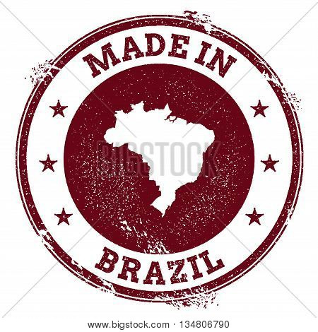 Brazil Vector Seal. Vintage Country Map Stamp. Grunge Rubber Stamp With Made In Brazil Text And Map,