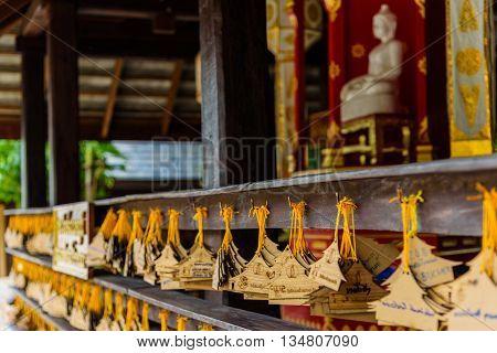 Signs of donation in Rai Chern Tawan Meditation Centre at Chiang Rai, Thailand