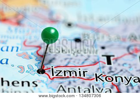 Izmir pinned on a map of Turkey