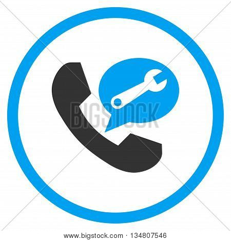 Phone Service Message vector bicolor icon. Image style is a flat icon symbol inside a circle, blue and gray colors, white background.