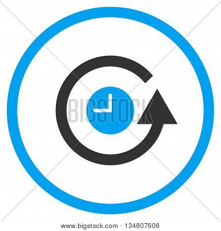 Restore Clock vector bicolor icon. Image style is a flat icon symbol inside a circle, blue and gray colors, white background.