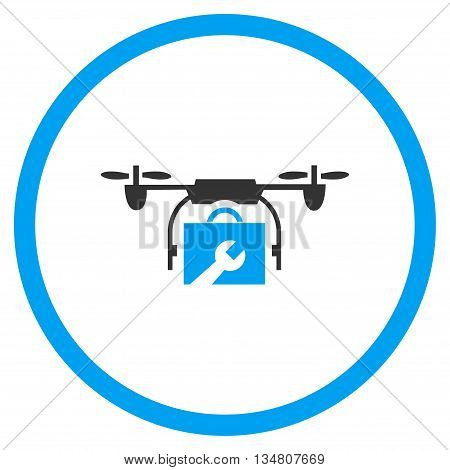 Service Drone vector bicolor icon. Image style is a flat icon symbol inside a circle, blue and gray colors, white background.