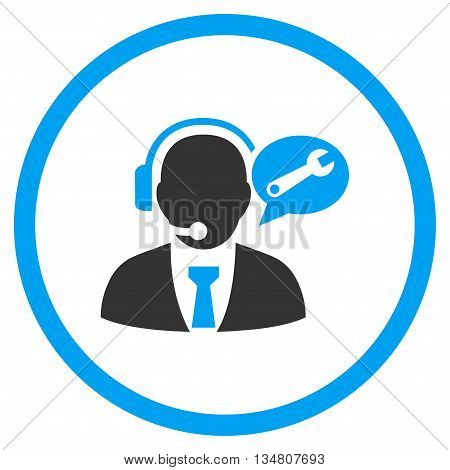 Service Manager Message vector bicolor icon. Image style is a flat icon symbol inside a circle, blue and gray colors, white background.