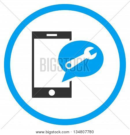 Service SMS vector bicolor icon. Image style is a flat icon symbol inside a circle, blue and gray colors, white background.
