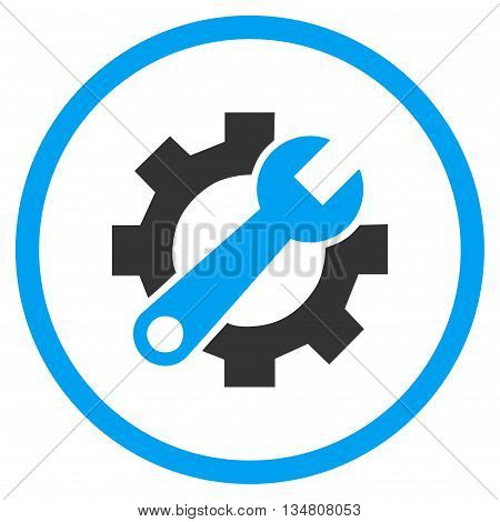 Service Tools vector bicolor icon. Image style is a flat icon symbol inside a circle, blue and gray colors, white background.