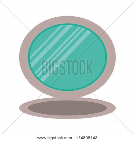 Make up and Cosmetic represented by mirror icon over flat and isolated design