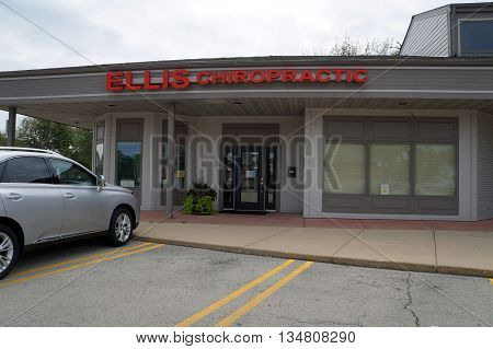 SHOREWOOD, ILLINOIS / UNITED STATES - AUGUST 30, 2015: Ellis Chiropractic offer chiropractic treatments in the Park Place Plaza in Shorewood.