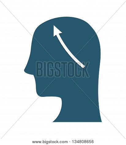 Body part represented by human head over flat and isolated design