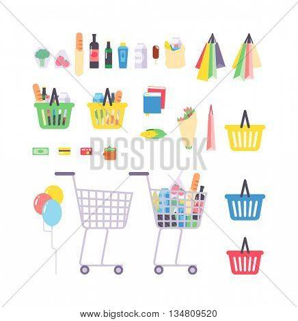 Supermarket products vector illustration.