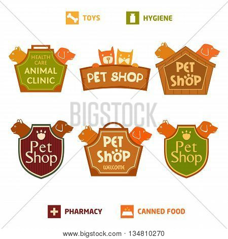 Set of vector logo on heraldic shield for pet shop hotel. Animal welfare quality service and useful food.