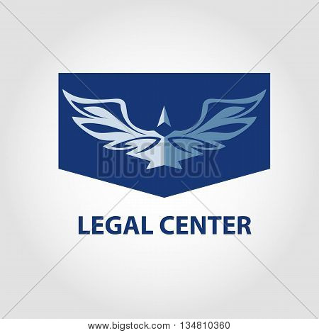Template vector logo for legal notary organization. Illustration for jurist center. View eagle on blue background.