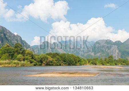 beautiful Mountain View in Vang Vieng Laos