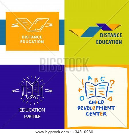 Vector logo distance education, the study of the logo. Educational Bridge. Identification of educational services. The concept of a drawbridge, a book, a compound for the purpose of distance learning.