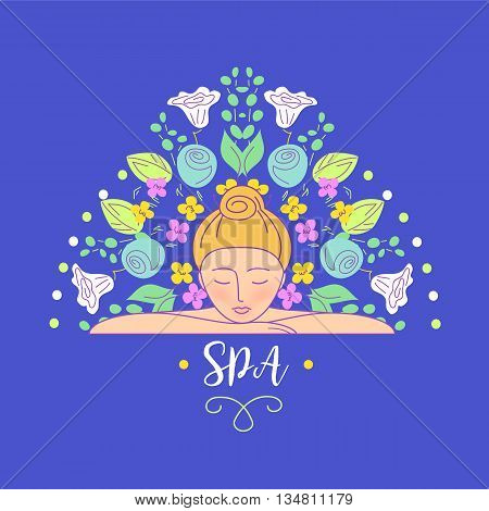Vector logo with color hand drawn flower for ecology therapy center, spa resort, herbal massage. Illustration girl lay on her hands on blue background.