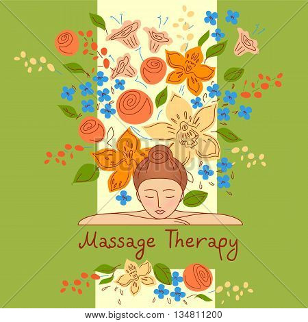 Vector logo with color hand drawn flower for ecology therapy center, spa resort, herbal massage. Illustration girl lay on her hands on green background.
