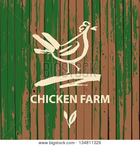 Vector logo. Hand drawn hen . Products from chicken meat and eggs. Painted brush white cock on farm on wood background.