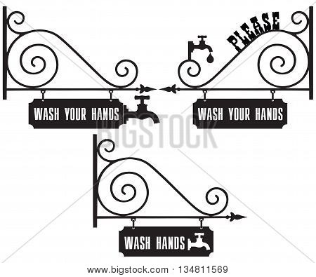 Street sign with the request to wash hands. Please Wash Your Hands