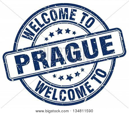 welcome to Prague stamp. welcome to Prague.