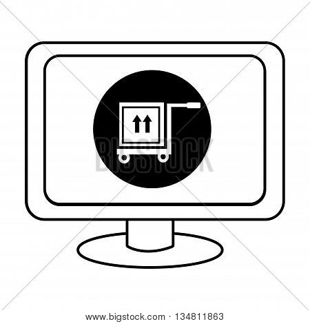 electronic device screen with black circle and freight car and box icon over isolated background, vector illustration