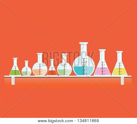 Colorful of Test tubes or Medical tubes Modern flat icon design vector illustration.