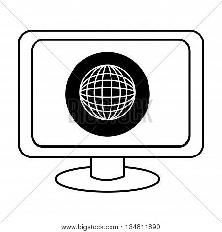 electronic device screen with black circle and world map icon over isolated background, vector illustration