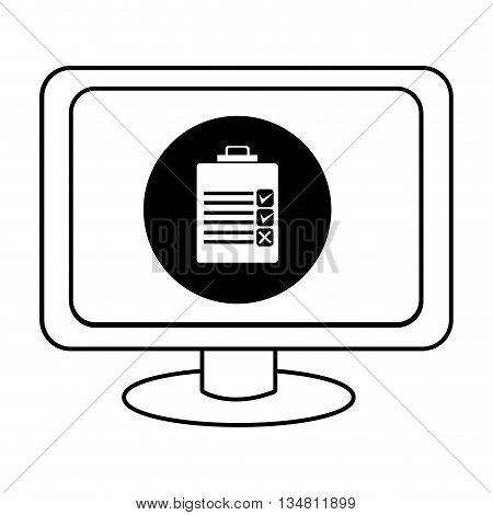 electronic device screen with black circle and check list icon over isolated background, vector illustration