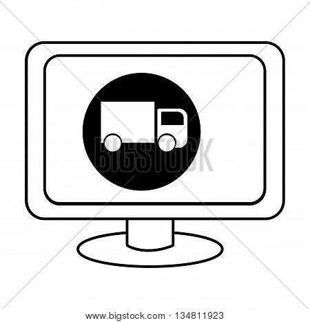 electronic device screen with black circle and truck icon over isolated background, vector illustration