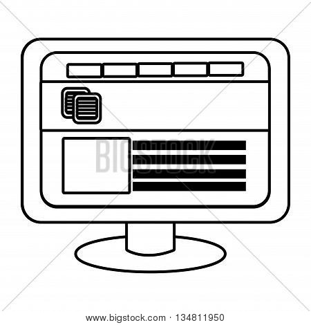 electronic device screen with commerce icon and squares over isolated background, vector illustration