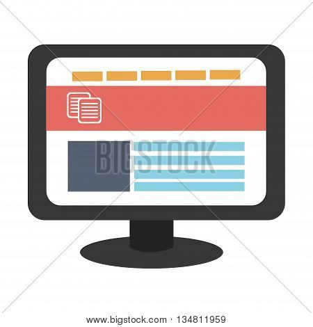 black electronic device screen with colorful icons over isolated background, vector illustration