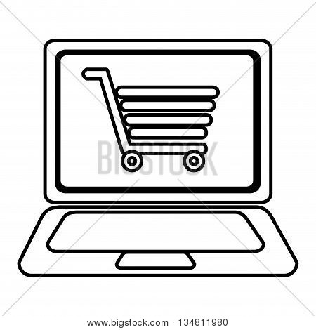 laptop with a shopping cart icon on the screen over isolated background, vector illustration