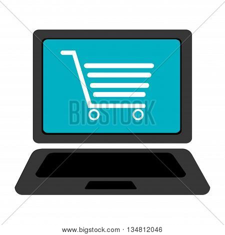 black laptop with blue screen and white shopping cart over isolated background, vector illustration