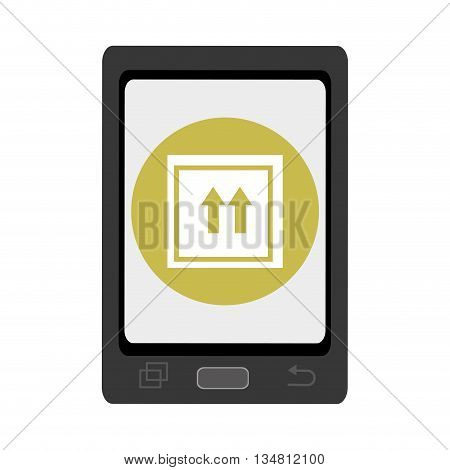 black smartphone with green circle and white box and arrows icon over isolated background, vector illustration
