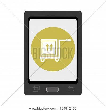 black smartphone with green circle and white box and arrows on freight car icon over isolated background, vector illustration