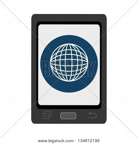 black smartphone with blue circle and white world map icon over isolated background, vector illustration