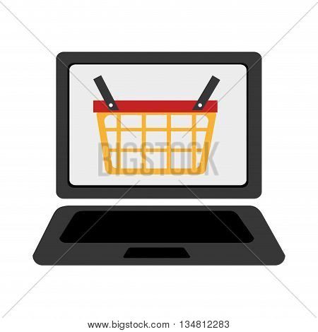 black laptop with colorful shopping basket icon on the screen over isolated background, vector illustration