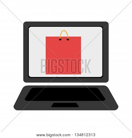 black laptop with colorful shopping bag icon on the screen over isolated background, vector illustration