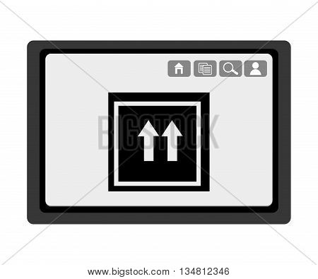 black electronic device with black box and arrows icon on the screen over isolated background, vector illustration