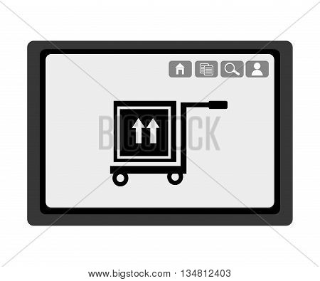 black electronic device with black freight car box with arrows and media  icon on the screen over isolated background, vector illustration