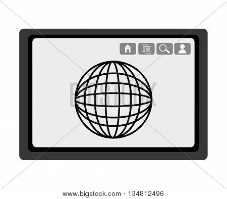 black electronic device with black world map and media  icon on the screen over isolated background, vector illustration