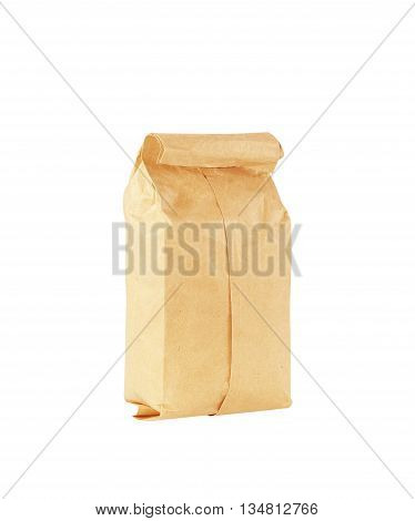 The brown paper bag on white background